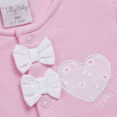 Imagem 3 do produto Jogo Maternidade com Macacão e Manta para bebe em malha Little Princess - Tilly Baby - TB168483 SAÍDA MATERNIDADE FEM ROSA BEBE-P