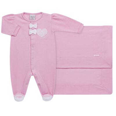 Imagem 1 do produto Jogo Maternidade com Macacão e Manta para bebe em malha Little Princess - Tilly Baby - TB168483 SAÍDA MATERNIDADE FEM ROSA BEBE-RN