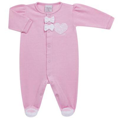 Imagem 2 do produto Jogo Maternidade com Macacão e Manta para bebe em malha Little Princess - Tilly Baby - TB168483 SAÍDA MATERNIDADE FEM ROSA BEBE-RN