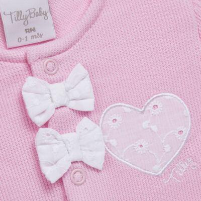 Imagem 3 do produto Jogo Maternidade com Macacão e Manta para bebe em malha Little Princess - Tilly Baby - TB168483 SAÍDA MATERNIDADE FEM ROSA BEBE-RN