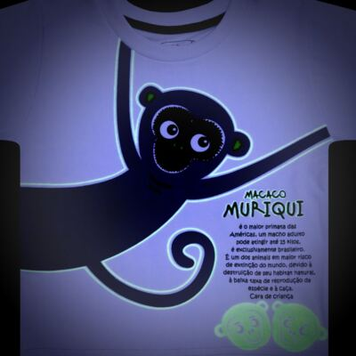 Imagem 4 do produto Pijama longo que Brilha no Escuro Muriqui - Cara de Criança - L1660 MURIQUI L PJ-LONGO M/MALHA -3