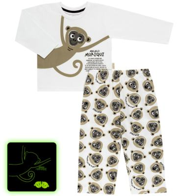 Imagem 1 do produto Pijama longo que Brilha no Escuro Muriqui - Cara de Criança - L1660 MURIQUI L PJ-LONGO M/MALHA -2