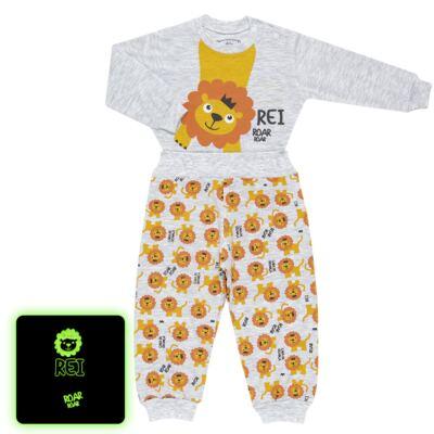 Imagem 1 do produto Pijama 4 botões que Brilha no Escuro Lion - Cara de Criança - 4L1943 REI LEAO 4L PJ 4 BOTOES - LONGO M/MALHA-G