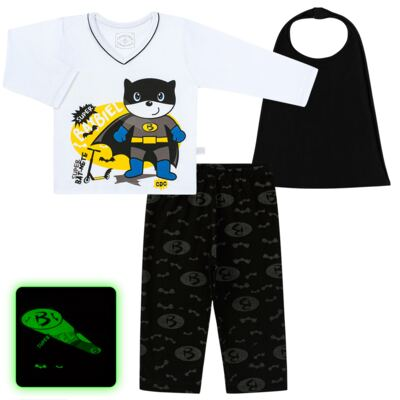Imagem 1 do produto Pijama que Brilha no escuro BatBiel - Cara de Criança - L2378 BATBIEL L PJ-LONGO M/MALHA -3