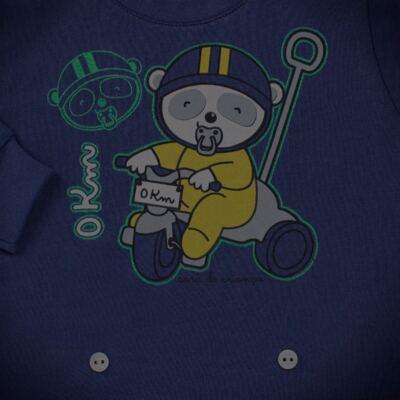 Imagem 4 do produto Pijama 4 botões que Brilha no Escuro Biel Bike - Cara de Criança - 4L2338 BIEL BIKE 4L PJ 4 BOTOES-LONGO M/MALHA-GG