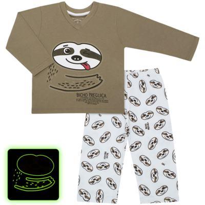 Imagem 1 do produto Pijama que Brilha no Escuro Bicho Preguiça  - Cara de Criança - L1746 BICHO PREGUICA L PJ-LONGO M/MALHA-4