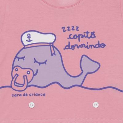 Imagem 3 do produto Pijama 4 botões que Brilha no Escuro Miss Captain  - Cara de Criança - 4L1942 BALEINHA 4L PJ 4 BOTOES-LONGO M/MALHA -M