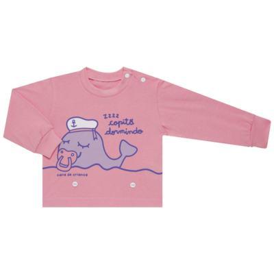 Imagem 2 do produto Pijama 4 botões que Brilha no Escuro Miss Captain  - Cara de Criança - 4L1942 BALEINHA 4L PJ 4 BOTOES-LONGO M/MALHA -GG