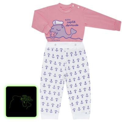 Imagem 1 do produto Pijama 4 botões que Brilha no Escuro Miss Captain  - Cara de Criança - 4L1942 BALEINHA 4L PJ 4 BOTOES-LONGO M/MALHA -P