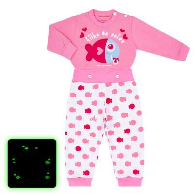 Imagem 1 do produto Pijama 4 botões que Brilha no Escuro Filha de Peixe - Cara de Criança - 4L2703 FILHA DE PEIXE 4L PJ 4 BOTOES LONGO M/MALHA-G