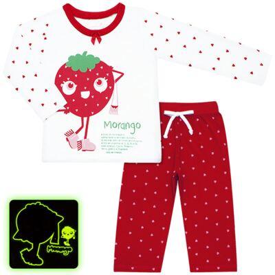 Imagem 1 do produto Pijama longo que Brilha no Escuro Moranguinho - Cara de Criança - L1635 MORANGO L PJ-LONGO M/MALHA-2