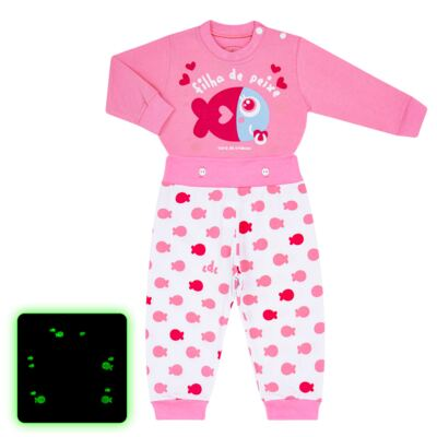 Imagem 1 do produto Pijama 4 botões que Brilha no Escuro Filha de Peixe - Cara de Criança - 4L2703 FILHA DE PEIXE 4L PJ 4 BOTOES LONGO M/MALHA-M