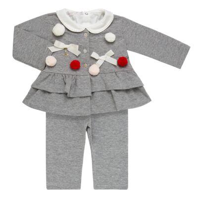 Imagem 1 do produto Conjunto para bebê Pom Pom : Casaquinho + Body longo + Calça - Roana - 26032015018 CONJUNTO LEGGING CASACO POM POM CINZA-G