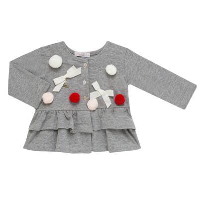 Imagem 3 do produto Conjunto para bebê Pom Pom : Casaquinho + Body longo + Calça - Roana - 26032015018 CONJUNTO LEGGING CASACO POM POM CINZA-G