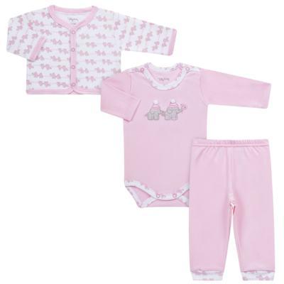 Imagem 1 do produto Conjunto Pagão Elefantinha: Casaquinho + Body longo + Calça - Tilly Baby - TB170221.02 KIT BODY CALCA E CASACO ELEFANTINHOS ROSA BEBE-M