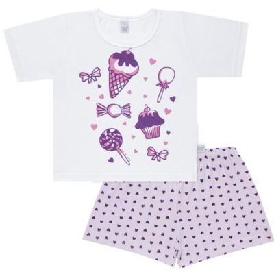 Imagem 1 do produto Pijama curto com Shorts em malha Candy - Cara de Sono - U1998 GULOSEIMAS U PIJAMA-CURTO M/MALHA -3