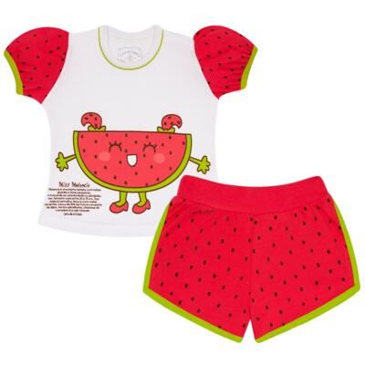 Imagem 1 do produto Pijama Curto que Brilha no Escuro Melancia - Cara de Criança - U0686 PIJAMA CURTO QUE BRILHA NO ESCURO MELANCIA-2