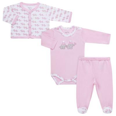 Imagem 1 do produto Conjunto Pagão Elefantinha: Casaquinho + Body longo + Calça - Tilly Baby - TB170221.02 KIT BODY CALCA E CASACO ELEFANTINHOS ROSA BEBE-RN