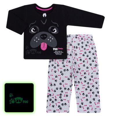 Imagem 1 do produto Pijama longo para bebe que Brilha no Escuro Black Pug - Cara de Criança - L2341 PUG FEM L PJ-LONGO M/MALHA -2