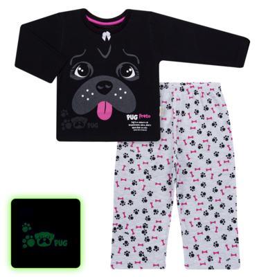 Imagem 1 do produto Pijama longo para bebe que Brilha no Escuro Black Pug - Cara de Criança - L2341 PUG FEM L PJ-LONGO M/MALHA -1