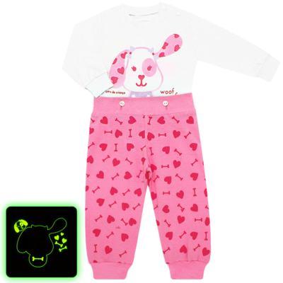 Imagem 1 do produto Pijama 4 botões que Brilha no Escuro Cachorrinha - Cara de Criança - 4L1671-CACHORRINHA 4L PJ 4 BOTOES-LONGO M/MALHA-G