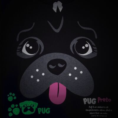 Imagem 3 do produto Pijama longo para bebe que Brilha no Escuro Black Pug - Cara de Criança - L2341 PUG FEM L PJ-LONGO M/MALHA -4