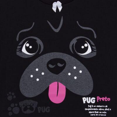 Imagem 4 do produto Pijama longo para bebe que Brilha no Escuro Black Pug - Cara de Criança - L2341 PUG FEM L PJ-LONGO M/MALHA -4
