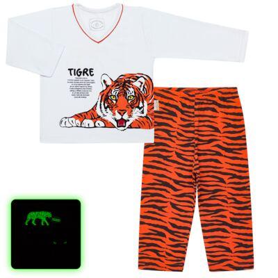 Imagem 1 do produto Pijama longo que Brilha no escuro Tigre - Cara de Criança - L2357 TIGRE L PJ-LONGO M/MALHA -2