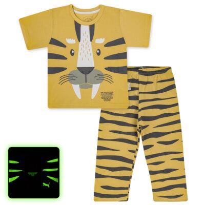 Imagem 1 do produto Pijama curto em malha que Brilha no Escuro Tigre - Cara de Criança - C2897 TIGRE C PJ MG CURTA C/CALCA M/MALHA-4