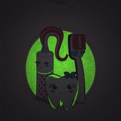 Imagem 3 do produto Pijama curto que Brilha no Escuro Dentinha - Cara de Criança - U2881 TIME SORRISO FEM U PIJAMA CURTO M/MALHA-6