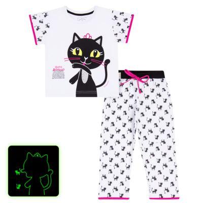Imagem 1 do produto Pijama curto em malha que Brilha no Escuro Gata Bombaim - Cara de Criança - C2893 GATA BOMBAIM C PJ-MG CURTA C/CALCA M/MALHA-1