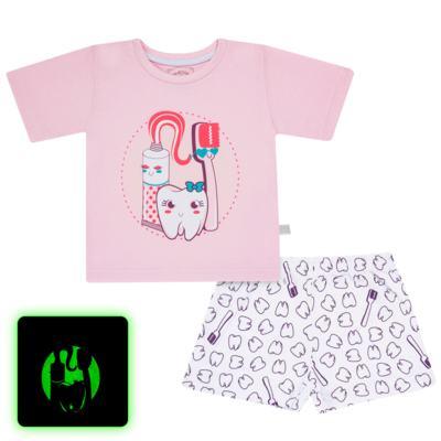 Imagem 1 do produto Pijama curto que Brilha no Escuro Dentinha - Cara de Criança - U2881 TIME SORRISO FEM U PIJAMA CURTO M/MALHA-2
