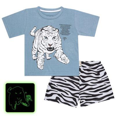 Imagem 1 do produto Pijama curto que Brilha no Escuro Tigre Branco - Cara de Criança - U2283 TIGRE BRANCO U PIJAMA CURTO M/MALHA-3