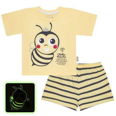 Imagem 1 do produto Pijama curto que Brilha no Escuro Little Bee - Cara de Criança - U2278 ABELHA PIJAMA-CURTO M/MALHA -3