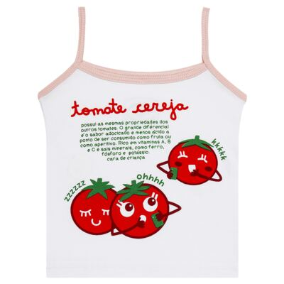 Imagem 2 do produto Pijama Regata que Brilha no Escuro Tomatinho Cereja - Cara de Criança - R2277 TOMATE CEREJA R PJ REGATA COTTON -2