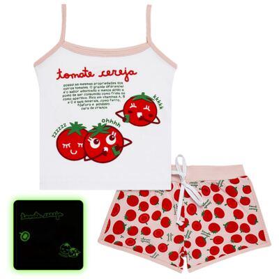 Imagem 1 do produto Pijama Regata que Brilha no Escuro Tomatinho Cereja - Cara de Criança - R2277 TOMATE CEREJA R PJ REGATA COTTON -4