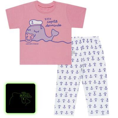 Imagem 1 do produto Pijama curto que Brilha no Escuro Miss Captain - Cara de Criança - BC1942 BALEINHA BC PJ-BB CURTA C/CALCA M/MALHA-G