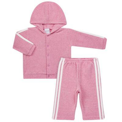 Imagem 1 do produto Casaco c/ capuz e Calça para bebe em soft Rosa - Tilly Baby - TB0172020.10 CONJ. CASACO COM CALÇA SOFT ROSA-M