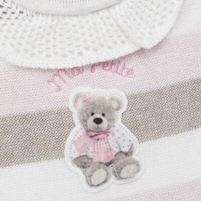 Imagem 2 do produto Macacão c/ golinha para bebe em tricot Ma Petite - Petit - 21874283 MACACAO C/GOLA BABADO TRICOT LISTRA ROSA -P