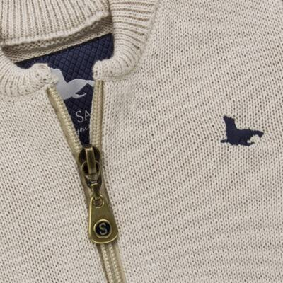Imagem 2 do produto Casaquinho para bebe em tricot Caqui - Mini Sailor - 75494267 CASACO BASICO ZIPER TRICOT CAQUI-1