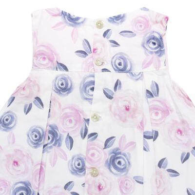 Imagem 3 do produto Vestido c/ Calcinha para bebe em tricoline Flourish - Mini Sailor - 14394440 VESTIDO RECORTE LACO TRICOLINE FLORAL ROSA-9-12