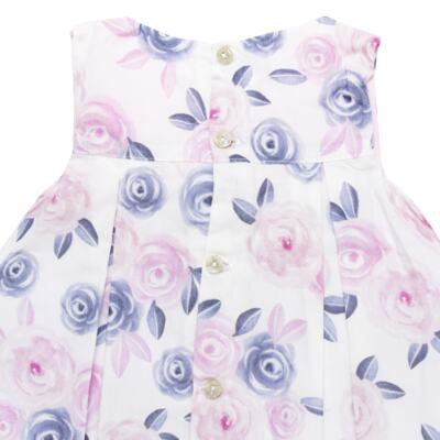 Imagem 3 do produto Vestido c/ Calcinha para bebe em tricoline Flourish - Mini Sailor - 14394440 VESTIDO RECORTE LACO TRICOLINE FLORAL ROSA-0-3