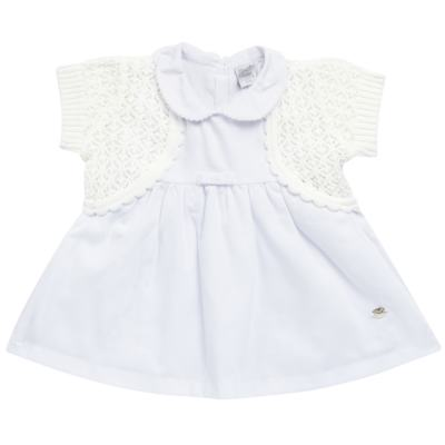 Imagem 1 do produto Vestido c/ Bolero para bebe em fustão Branco - Mini & Classic - 1425659 VESTIDO COM BOLERO TRICOLINE/BRANCO-P