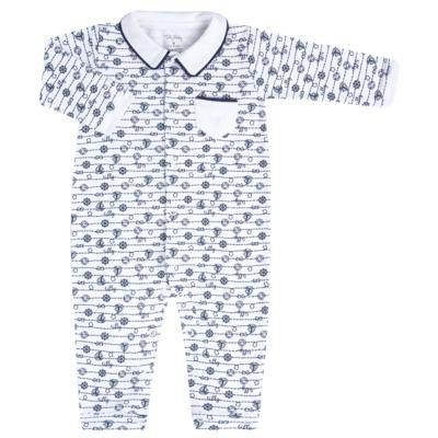 Imagem 1 do produto Macacão longo para bebe em suedine Navy - Tilly Baby - TB168170 MACACAO ML MASCULINO SUEDINE NÁUTICO-M