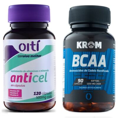 Imagem 1 do produto Anticel 500mg Oiti 120 Cápsulas + Suplemento BCAA Krom 90 Cápsulas