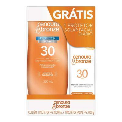 Kit Protetor Solar Cenoura & Bronze FPS 30 Loção 200ml + Grátis Protetor Solar Facial FPS 30 50g