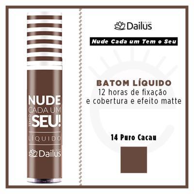 Imagem 4 do produto Batom Líquido Nude Dailus Color - 14 Puro Cacau