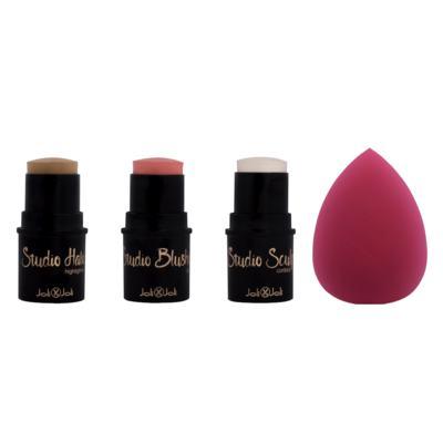 Imagem 1 do produto Contour Secrets Trio Stick Joli Joli - Contorno + Blush + Iluminador + Esponja - Kit