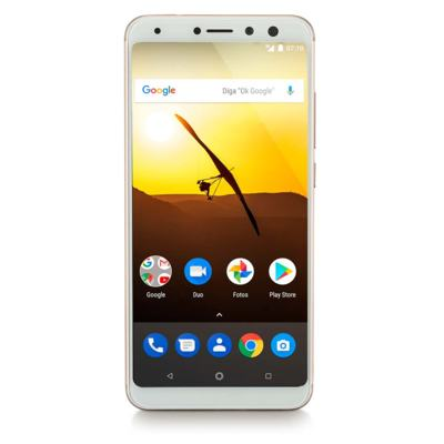 Smartphone Multilaser MS80 3GB RAM + 32GB Tela 5,7 HD+ Android 7.1 Qualcomm Dual Câmera 20MP+8MP Dourado - P9065 - P9065