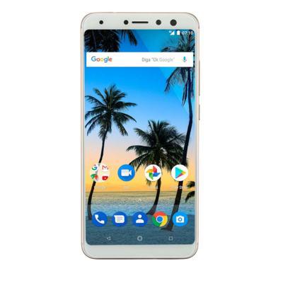 """Imagem 1 do produto Smartphone Multilaser MS80 4GB RAM + 64GB Tela 5,7"""" HD+ Android 7.1 Qualcomm Dual Câmera 20MP+8MP Dourado - P9067 - P9067"""